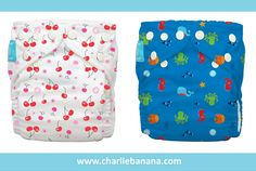 Charlie Banana popular prints - Cherries and Under the Sea are now available for purchase as One-size diaper by itself!
