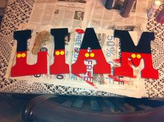 """Mickey Mouse themed painted letters """"Liam"""" Plus Dulceros Mickey Mouse, Mickey Mouse Baby Shower, Mickey Mouse Parties, Mickey Party, Mickey Mouse Decorations, Mickey Mouse Letters, Mickey Mouse Nursery, Elmo Party, Dinosaur Party"""