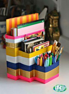 """Nos acercamos al """"back to school"""" y aquí te damos una buena idea para organizar tus efectos escolares utilizando materiales reciclables, como cajas de cartón en diferentes tamaños. #ifcoPR"""