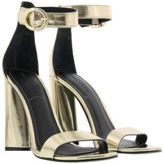 Kendall  Kylie Giselle Sandals ($120) ❤ liked on Polyvore featuring shoes, sandals, gold, gold shoes and gold sandals
