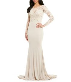 81adef78306 Shop for Terani Couture Long Sleeve Beaded Lace Bodice Gown at Dillards.com.  Visit