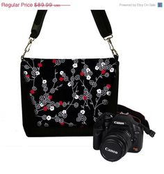 ON SALE Digital Slr Camera Bag DSLR Camera Bag Purse Womens Camera Bag Case   - Deluxe Tiny Cherry Blossom - In Stock. $71.99, via Etsy.