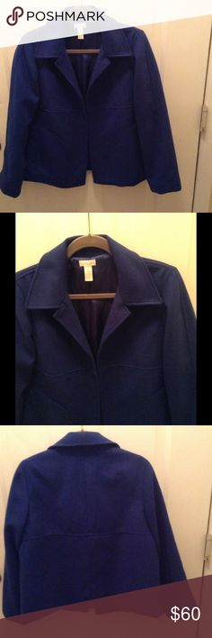Chicos Open Front Jacket This royal blue outerwear jacket is 100% Polyester fully lined, has a raised material trim on the arms & front, & has 2 front pockets.  It's 25 inches long and 88% Polyester/10% Rayon/2% Spandex.  In excellent condition!! Chico's Jackets & Coats