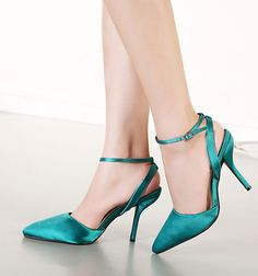 Elegant-Womens-Pointed-Toed-Ankle-Band-Strappy-Slingbacks-Sandals-High-Heels