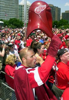 Red Wings fans embrace the Dark Lord during #Detroit's Stanley Cup celebration.