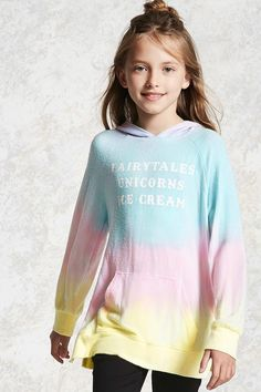 """Forever 21 Girls - A knit hoodie featuring an allover ombre wash, a front """"tales Unicorns Ice Cream"""" graphic, kangaroo pocket, long sleeves, and a vented hem."""