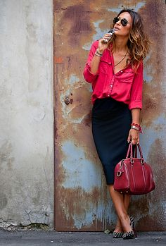 navy skirt, pink/red blouse