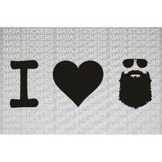 I love Beard with aviator glasses sticker for cars, bikes, laptop