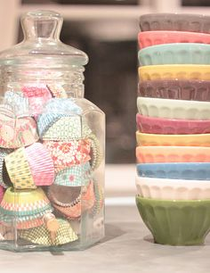 PRINTS- cupcake liners and fiesta bowls- like the assortment of color but not that pastel easter look