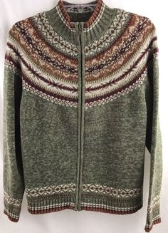 Tiara International Sweater Nordic Fair Isle Knit warm Zip up multi color Sz M  #TiaraInternational #FullZip #Casual #sweater #ebay #clothing