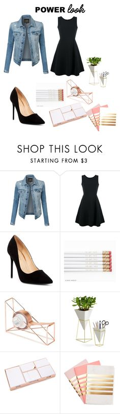"""""""Outfit + desk supplies to motivate you"""" by elieanagarrick ❤ liked on Polyvore featuring LE3NO, Emporio Armani, Liliana, U Brands, Umbra, Kate Spade and StudioSarah"""