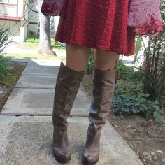 Frye leather knee high OTK riding tall boots Wonderfully made boho style boots. Wide enough for me to fit jeans into. Size 8 runs kind of small though as most Frye do. But leather does stretch out as you wear them. Color is a washed grey. I paid a lot for these- so I will just keep them if I don't get some of the money back. Only worn a couple of times. No original box. Will be packed nicely for shipping without box Frye Shoes Over the Knee Boots
