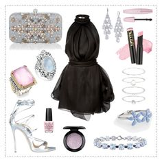 """""""Angela and the Little Black Dress"""" by divinatas ❤ liked on Polyvore featuring Rasario, Carolee, Dsquared2, Accessorize, Konstantino, Miadora, Talbots, Bling Jewelry, MAC Cosmetics and L.A. Girl"""