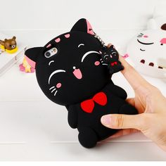 Fashion Lovely Funny 3D Cartoon Lucky Cat For Iphone 5 5C 5S SE 6 6S Plus Phone Bags & Cases Soft Silicone Rubber Back Covers