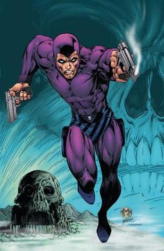 "The Phantom (Kit Walker aliases; Mr. Walker, Kit, The Ghost Who Walks, The Man Who Cannot Die, Guardian of the Eastern Dark) (Human) (Skull Cave, Bengalla Island) Guardian of the Innocent, Justice-Fighter. Excellent athlete.  Highly skilled martial artist,  marksman.  Uses a tight-fitting costume for maneuverability. 6' 2"" tall."