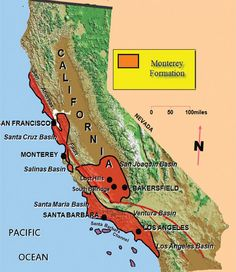 The locations of California's Monterey Formation, where shale oil has been discovered and could be recovered. The San Andreas fault line is the red line running north to south.