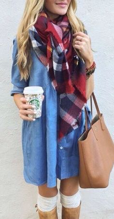 #fall #outfits / plaid + chambray dress