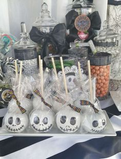 Caramel apples at a Nightmare Before Christmas baby shower party! See more party planning ideas at CatchMyParty.com!