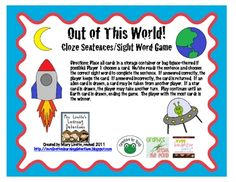 FREE from Mary Lirette on TpT. This is a space-themed game that is perfect for small group or partners. It practices cloze sentences (fill in the blank), using high frequency wo. Cvc Words, Teaching Activities, Teaching Reading, Teaching Ideas, Educational Activities, Word Study, Word Work, Education And Literacy