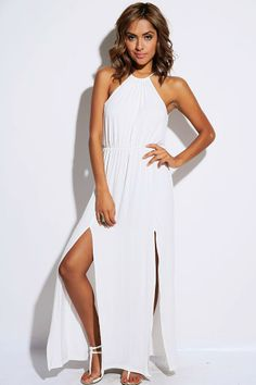 #1015store.com #fashion #style bright white high neck cut out back double slit party maxi dress-$20.00