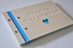 colorfull custom wood baby book / album cnc engraved name and heart