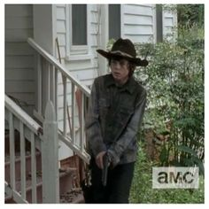 That awkward moment when Carl is trying to get into the house