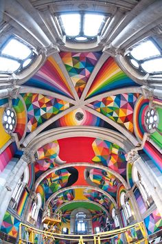 Spanish artist Okuda San Miguel transformed a 100 year old abandoned church into a whimsical skate park. Retail Architecture, Okuda, Spanish Artists, Mural Wall Art, Graffiti Lettering, Arte Popular, Recycled Art, Public Art, Urban Art