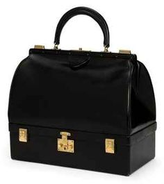 BLACK BOX LEATHER MALLETTE BAG :  HERMÈS, 1960S