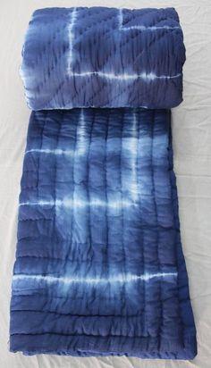 Jaipuri Razai Shibori Tie Dye Print Indigo Blue Cotton Hand Filling Winter Quilt #KhushiHandicraft #ArtDecoStyle