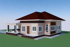 This tropical style one storey house design has 3 bedrooms, 2 bathrooms, 135 square meters total floor area. Proportion is the key in the layout, with the entry Small Bungalow, Modern Bungalow House, Bungalow Homes, Bungalow Designs, Tropical House Design, Small House Design, Modern House Design, Tropical Style, Bungalow Floor Plans