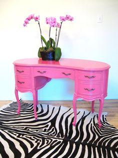 Vintage HOLLYWOOD REGENCY FRENCH Style Hot Pink Vanity Desk