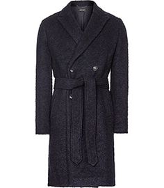 Miles Navy Double-breasted Coat - REISS