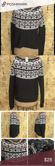 AMERICAN EAGLE Black/White FairIsle Nordic Sweater AMERICAN EAGLE Women's Black/White Fair Isle Nordic Sweater Wool Blend  Sz Small Sleeve: 30 inches  Armpit to Armpit: 19 inches  Length: 24 inches  45% Acrylic  30% Polyester  25% Wool American Eagle Outfitters Sweaters Crew & Scoop Necks