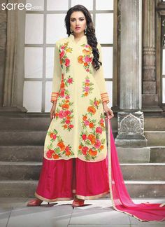 YELLOW GEORGETTE SUIT WITH EMBROIDERY WORK