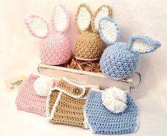 Easter Bunny Hat/Diaper Cover Set, Newborn Photo Prop, Baby Photo Prop, Handmade Crochet Newborn Costume by LulabelleGifts on Etsy https://www.etsy.com/listing/224160244/easter-bunny-hatdiaper-cover-set-newborn
