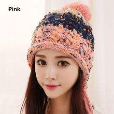 Knit ear flap hat Hairball decoration winter hats for women