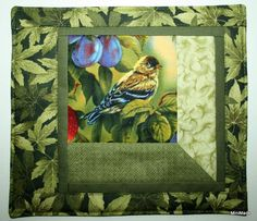 Mug Rug Snack Mat Coaster Goldfinch by MiniMade on Etsy, $7.50