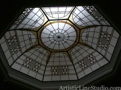 Stained and leaded glass octagon skylight