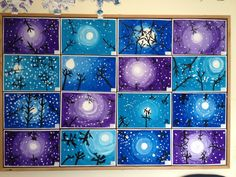 Bilderesultat for Winter Art Activities for Elementary Classroom Art Projects, School Art Projects, Art Classroom, Club D'art, Classe D'art, 4th Grade Art, Grade 2, Winter Art Projects, Ecole Art