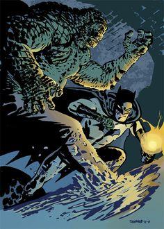 Batman vs Killer Croc by Chris Samnee