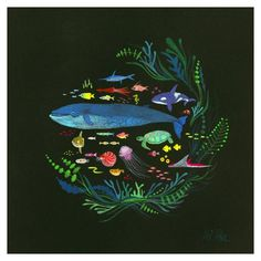 Swim with the aquatic beauties onthisprint from Portland's husband-and-wife duo APAK. The original painting was done in gouache on wood in 2013 and this limit