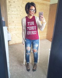 "My Monday mantra...""But first coffee"" ••••• T shirt: @target Sweater: @target Jeans: @tjmaxx Flats: @tjmaxx Earrings: @target"