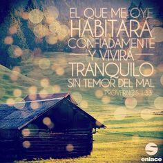 Mas el que me oyere, habitará confiadamente y vivirá tranquilo, sin temor del…