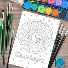 Adult Coloring Page, Printable Adult Coloring Book Page, horoscope coloring page, Capricorn zodiac sign, Digital Illustration by Lepetitchaperon on Etsy