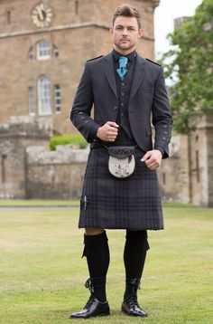 Kilt in Grey Spirit tartan with Grey Tweed Argyll Jacket - Andrew for Steph's wedding: a bit invisible, I should cheer him up at some occassion Scottish Dress, Scottish Man, Scottish Kilts, Kilt Wedding, Wedding Men, Wedding Suits, Tartan Wedding, Wedding Ideas, Kilt Jackets