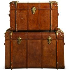 Small Havana Leather Travelling Trunk - Tan (Blanket and storage chest)