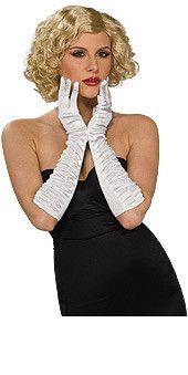 White Satin Lycra Wrinkled Elbow Costume Gloves