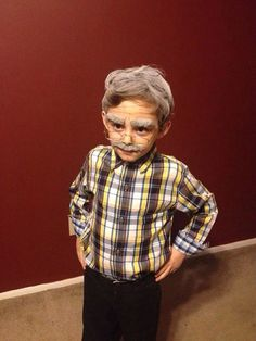 Our friend's nephew had to dress like a 100-year-old person for the 100th day of school. We think he nailed it.