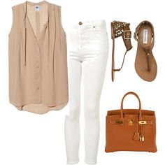 Eleanor Calder inspired outfit with white jeans by ...