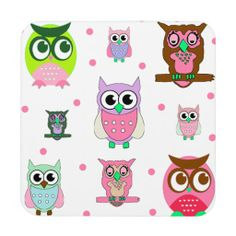 Cute Cartoon Owls | Cute Cartoon Owls and Pink Dots Coaster from Zazzle.com